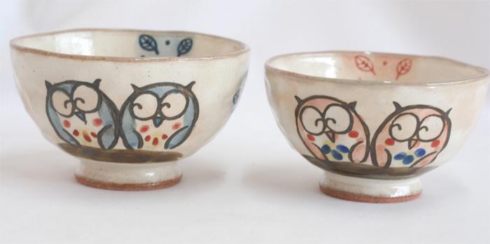 フクロウのお茶碗