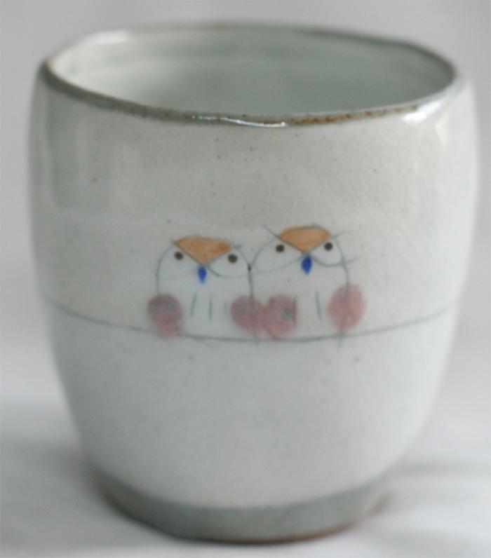 フクロウの湯飲み茶碗